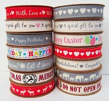 100% Cotton Fabric Christmas Ribbon Vintage Tape Trim Lace Craft Gift Xmas ii
