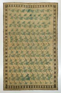 7.4x12 Ft Vintage Handmade Village Rug in Beige, Green and Brown Colors, Ca 1960