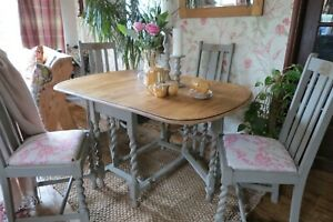 Solid Drop leaf Barley Twist Wooden table & 4 reupholstered Chairs
