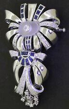 Vintage heavy jumbo Platinum 5.50CT diamond/Blue sapphire double fur clip brooch