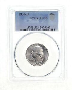 AU55 1935-D Washington Quarter - Graded PCGS *4540