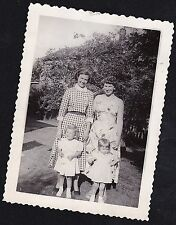 Vintage Antique Photograph Two Beautiful Moms With Adorable Little Girls in Yard