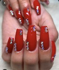 Set Of Painted Red Bling Glossy  Long Coffin False Nails
