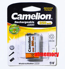 Camelion 9V Rechargeable Recharge Battery Block Cell 250mAh NiMH 6F22 PP3 R22