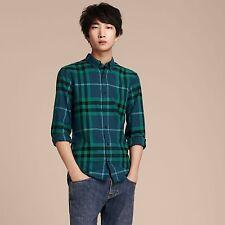 NEW $350 Burberry London Ecclestone Blue Check Cotton Flannel Shirt, Size M