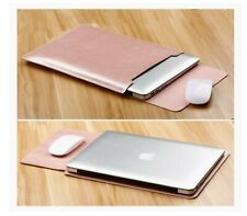 Laptop Sleeve Case Cover Bag for MacBook Air Mouse Pad PU Leather Pink