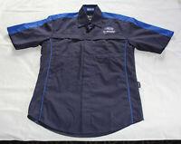 Subaru Mens Navy Blue Dealer Mechanic Embroidered Short Sleeve Shirt Size XS New