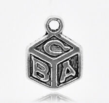 10 x ABC CUBE BUILDING BLOCK CHARMS, 13 x 10mm - SILVER TONE - SAME DAY POSTAGE