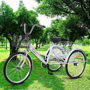 """Klassisch 24"""" Erwachsene Dreirad 24 Zoll SHIMANO 7 Gang 3 Räder Fahrrad + 2 Korb"""