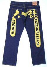 Evisu Jeans Rogues Catch and Release Mens Size 40 Blue Yellow