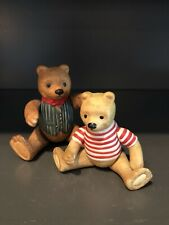 Pair Of Articulated Ceramic Bears, Father & Son, Unmarked Vintage