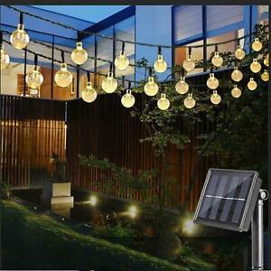 60 LED SOLAR POWERED RETRO BULB STRING LIGHTS GARDEN OUTDOOR FAIRY SUMMER LAMP