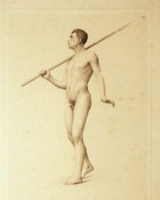 NUDO MASCHILE CON LANCIA - Incisione Originale 1800 cm 46x60