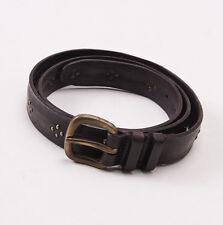 New $295 SANTONI Dark Brown Distressed Leather Belt with Metal Details 40 W