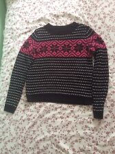 Topshop Knitted Jumper Size 10 Black Pink White Christmas