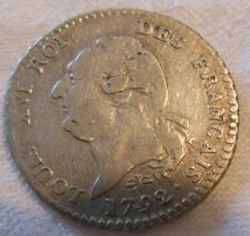 MONNAIE ARGENT Louis XVI_15 Sols 1792 D  (Lyon)_RARE
