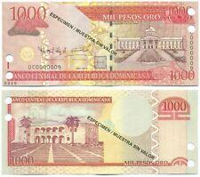 DOMINICAN REPUBLIC NOTE 1000 PESOS ORO 2010 SPECIMEN OBERTHUR P 180s3 UNC