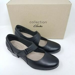 Clarks Emslie Lulin Womens Black Leather 29221 Hook & Loop Pump Heels Size 7.5 M