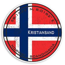 2 x 10cm Kristiansand Vinyl Stickers - Norway Flag Sticker Laptop Luggage #20203