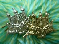 STAYBRITE THE KING'S OWN SCOTTISH BORDERERS COLLAR BADGE - PAIR