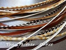 Lot 10 Grizzly Feathers Hair Extensions saddle Long Real Natural Browns NAT NB