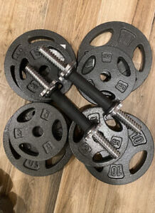 Cap 60lbs Adjustable Dumbbell Weight Set With handles. Cast Iron Plates.