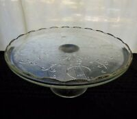 """Jeannette Glass Clear Harp (Gold Trim) 10 1/4"""" Footed Scalloped Cake Plate"""