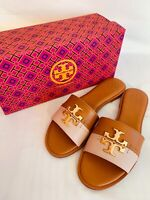Tory Burch NIB Everly Slide Sandals Leather Logo Tan Sea Shell Pink MANY SIZES