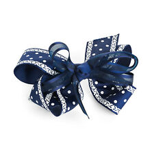 10cm Large Navy & White Hair Bow Hair Clips Girls Ribbon Bows Kids Accessory