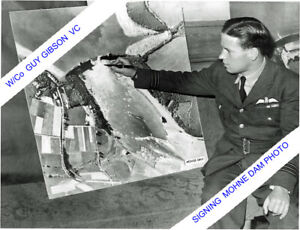 W/Co GUY.GIBSON,SIGNING AERIAL VIEW OF MOHNE DAM 617 SQDN & DAMBUSTERS