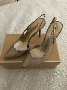 Michael Kors Eliza Sling Back Pump Silver/Sand Glitter Size  8.5 New $125.00