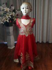 """24"""" Age 3 4 Size Kids Bollywood Kids Salwar Kameez Indian Girls Dress Red K17"""