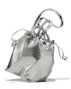 $990 NWT Paco Rabanne SEQUINED SILVER METTALIC POUCH BUCKET BAG