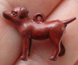 VINTAGE Old Metal Painted DOG Charm Cracker Jack Toy Prize 1920's-30's