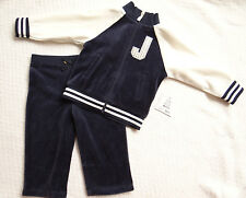Juicy Couture Baby Girl Velour Track Jog Suit Varsity Bling 2 Piece Set 6 12 Mos