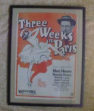 THREE WEEKS IN PARIS WITH MATT MOORE, DOROTHY DEVORE 1930'S MOVIE POSTER, FRAMED