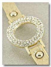 Beautiful Circle Crystal Sparkle Bracelet on Gold Shimmer Leather Band