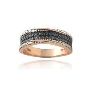 18K Rose Gold over 925 Silver Black Diamond Accent Twist Ring