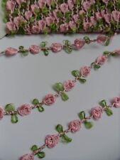 """9/16"""" Pink Roses Leaf Vintage Garland Lace Trim-5 yards -T252K"""
