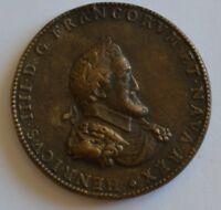 1604 France - King Henri IIII & 2nd wife Queen Marie De' Medici Medal Restrike