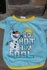 "DISNEY FROZEN  ""So Hot I'm Cool"" Olaf Apparel For Dogs -Shirt Large- LIGHT BLUE"