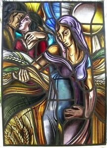 vintage stained glass window woman and corn and a couple in love (spring?)