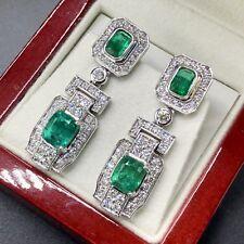 ART-DECO 18K SOLID WHITE GOLD 6.80CT Emerald Diamond earrings Natural Chandelier