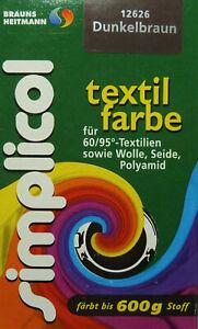 ★ 5 Päckchen Simplicol Textilfarbe 25g von Brauns-Heitmann ★ DUNKELBRAUN ★
