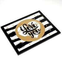 Glass Placemat 20x25 cm - I Love You Heart Polka Dot Art Deco  #12454