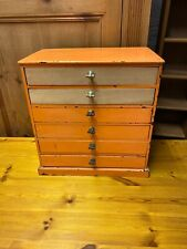 Antique Collectors / Specimen Cabinet, Chest Of Drawers / Made From Pine + Brass