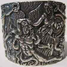 REBECCA COLLINS AMAZING WIDE STERLING SILVER LAOCOON & GREEK GODS CUFF BRACELET