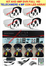 KIT 1080P 4 MP VIDEOSORVEGLIANZA AHD 4 TELECAMERE 4MP + DVR + CAVETTERIA +HD 1TB