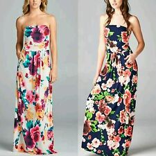 Vanilla Bay Floral Maxi Dress with Front Pockets Ivory Navy S M L