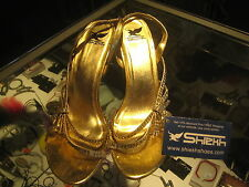 Shiekh gold lame' strappy high (3 in. and Up) heeled sandals women's size 10 M
